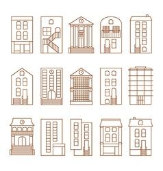 Flat thin line city buildings set vector