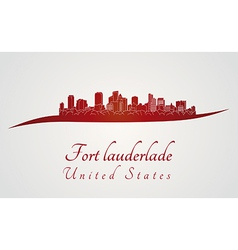Fort lauderlade skyline in red vector
