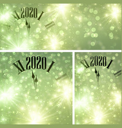 Green bokeh new year 2020 background with clock vector