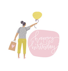 happy birthday card with cool woman holding party vector image