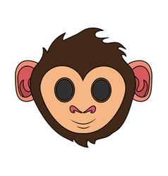 happy cute expressive monkey cartoon icon image vector image