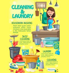 home cleaning and laundry washing service vector image