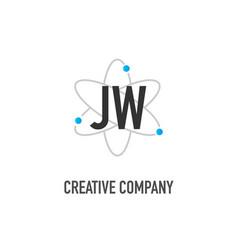Initial letter jw atom neutron design logo vector