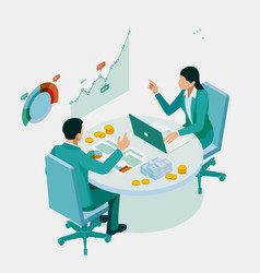 Isometric expert team for data analysis business vector