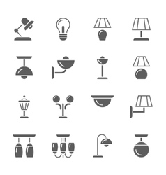lamps black and white ison set vector image