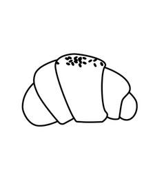 Line delicious fesh bakery croissant bread vector