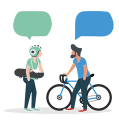 mens talk with speech bubbles vector image