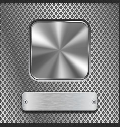 metal background with steel buttons vector image