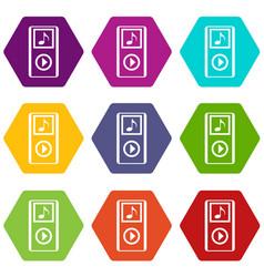 mini mp3 portable player icon set color hexahedron vector image