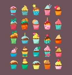 muffins with topping in cartons flat vector image