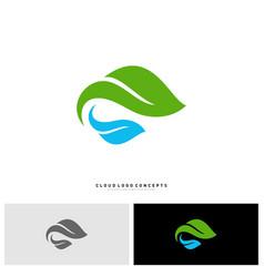 nature cloud logo design concept cloud with leaf vector image