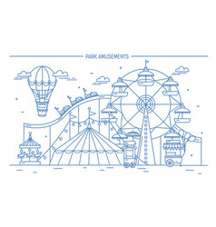 Nice horizontal banner of amusement park circus vector