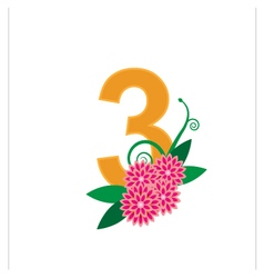 Number three with floral vector image