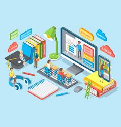 online education emblem cartoon banner vector image