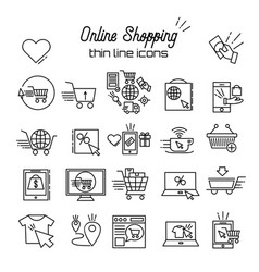 online shopping line icons e-commerce vector image
