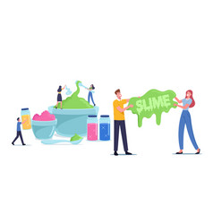 People making slime concept cheerful tiny male vector