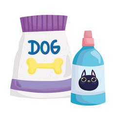 Pets package food dog and veterinary medicine for vector
