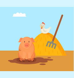 Pig and domestic hen on hay vector