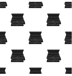 Pizza boxes icon in black style isolated on white vector