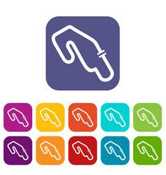 race circuit icons set vector image
