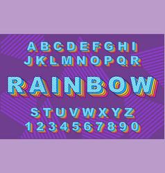 rainbow vintage alphabet vector image