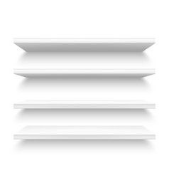 Realistic plastic shelves 3d metallic white shelf vector