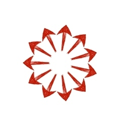 Red grungy arrows located in a circle like rays vector