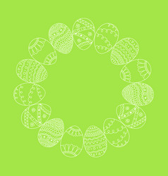 Round frame from white hand drawn easter eggs vector