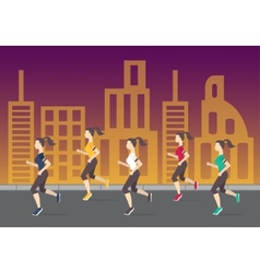 Running people silhouettes Women running on the vector image