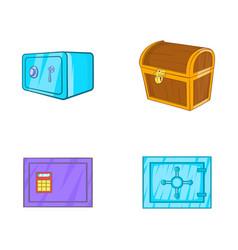 safe icon set cartoon style vector image
