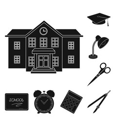 school and education black icons in set collection vector image