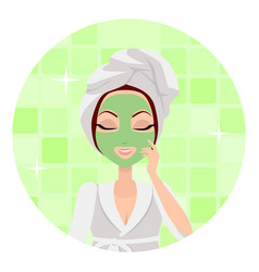Scrubbing girl applying a face scrub vector