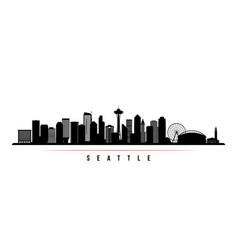 Seattle skyline horizontal banner black and white vector