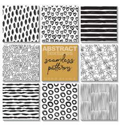 set of eight hand drawn ink seamless patterns vector image