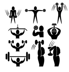Set of fitness icon vector image