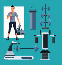 Set of people and gym equipment vector
