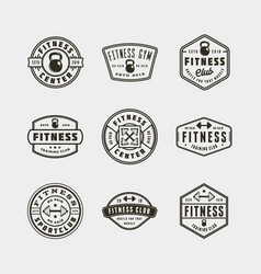 Set of vintage fitness gym logos vector