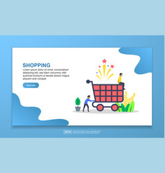 Shopping concept with tiny people character easy vector