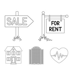 signs of sale and rent a skyscraper a two-story vector image