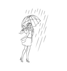 Sketch young woman walking umbrella rain vector