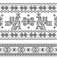 slovak tribal folk art seamless pattern vector image
