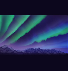 Snow mountains and northern lights landscape vector