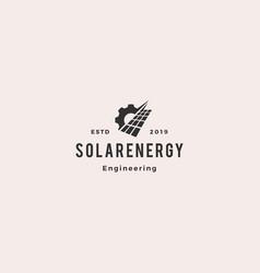 solar panel energy service logo vintage retro vector image