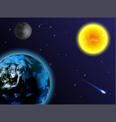 Space background the sun earth moon and comet vector
