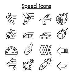 speed icon set in thin line style vector image