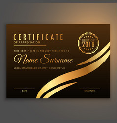 Stylish premium certificate design in golden color vector