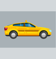 Taxi sedan yellow passenger uber car with vector
