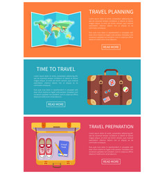 Travel planning web pages vector