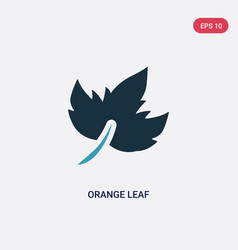 two color orange leaf icon from nature concept vector image