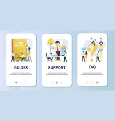 user info mobile app onboarding screens vector image